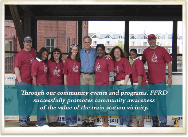 FFRD Volunteers setting up the Student Art Exhibit at the Wilmington Train Station.
