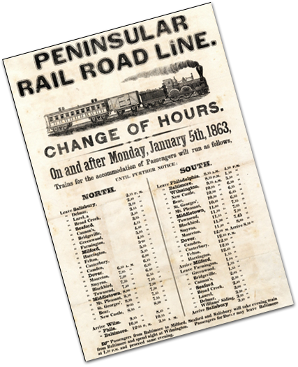 Notice of change in schedule for Peninsular Railroad from 1863.