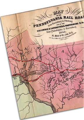 Pennsylvania Railroad map from 1855